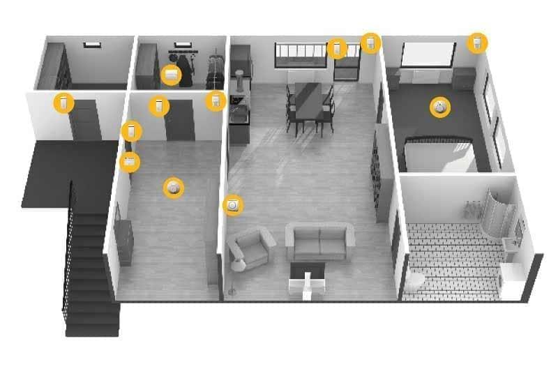 Diagramm Alarmanlage Installation in Wohnung