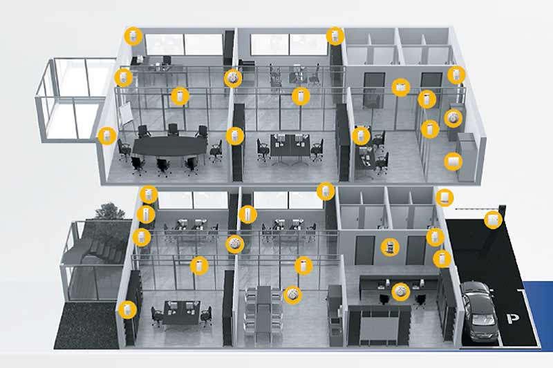 Diagramm Alarmanlageninstallation Büro Zonen, Sensoren, usw.