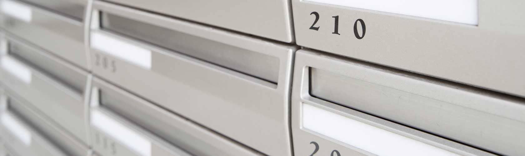 Brieffachanlage in Bürogebäude