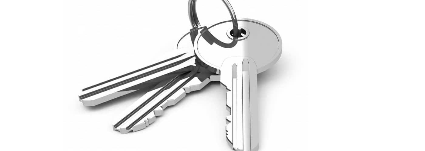 Ein Satz Zylinderschlüssel Sicherheitsschlüssel freistehend
