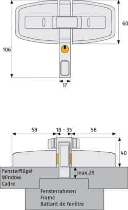 Doppelflügel Fenster Schloss ABUS DFS95