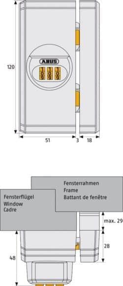 Fenster Zahlenschloss ABUS FTS106